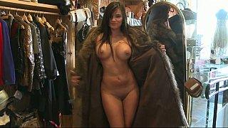 Naked titties in a fur coat