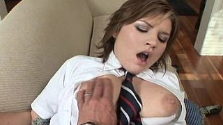 Sweet schoolgirl, sucking, fucking and swallowing like a good girl