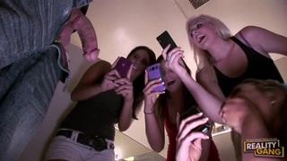 Teens having hardcore party
