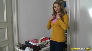 Katerina undressing at the apartment