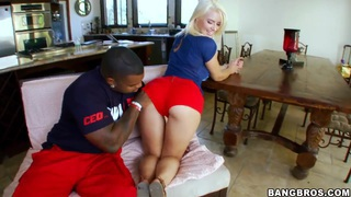 Anikka Albrite sucks a big, seaty black cock