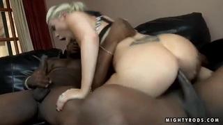 Blonde Samantha Sin bangs with black fellows