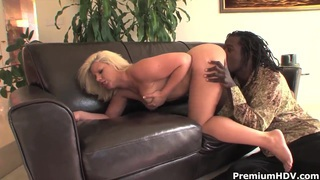 Pale blonde Heather Huntley takes on black sausage