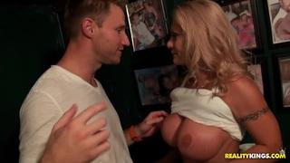 Kinky milf hunter has hunted a cute busty blonde