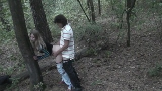 Angelina in blowjob and sex in homemade porn filmed in nature