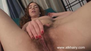 Sammy Grand masturbates her hairy pussy