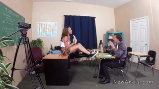 Perfect booty schoolgirl anal banged in classroom
