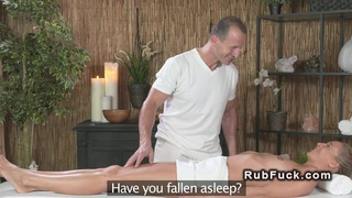 Blonde sucks masseurs cock