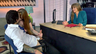 Gwen Stark and her stepmom Darla Crane suck his dick in the office