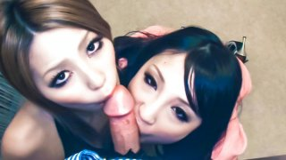 Sakura Kiryu  and her horny friend take on a horny dude heating up his kitchen with hot blowjob...