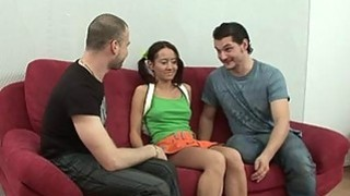 Asian receives her twat expended by two guys