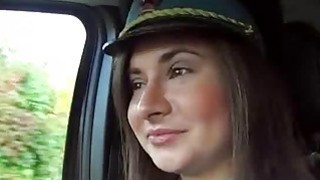Attractive policewoman Latoya hitchhikes and fucked in public