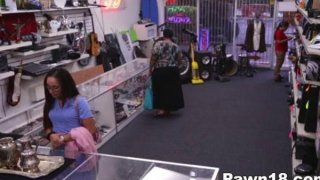 Amateur Giving Blowjob at the Pawnshop