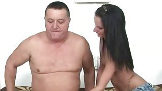 Fat old man fucking sexy young brunette