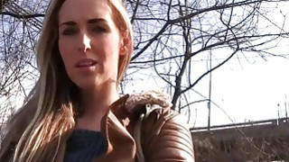 Czech blonde banged outdoor in public