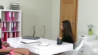 Lesbians casting with strap on dildo