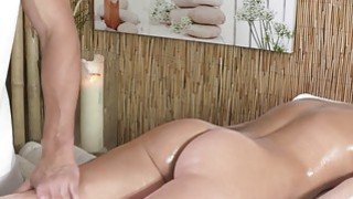 Blonde fucks and gets creampie after massage