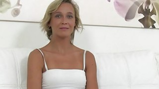 Czech blonde waitress fucks in casting