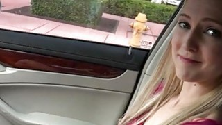 Big titted amateur teen Mila Evans pussy fucked in the car
