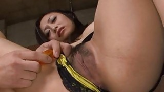 Messy asian in mesh plays with her taut hairy cunt