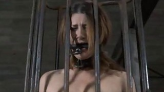 Gal is caged up with her bald pussy exposed