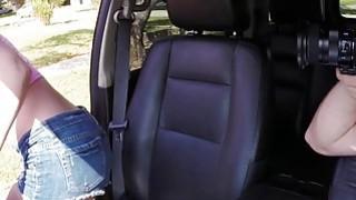 Lucky dude with car bangs teen