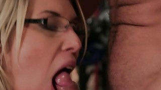Blonde Milf with glasses fucking