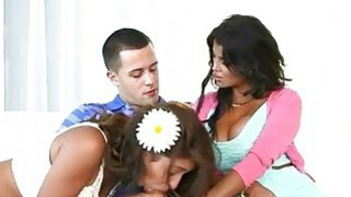 Stepmom and teen threeway with lucky guy