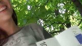 Lovely brunette does oral for cash