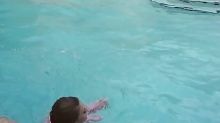 Dude bangs girlfriend by outdoor pool