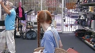 Amateur red hair babe gets pussy fucked at the pawnshop