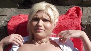 Czech babe flashes tits and pussy railed
