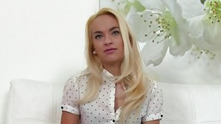 Blonde waitress bangs big cock in casting