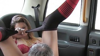 Nasty amateur eats arse to fake cab driver
