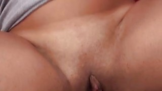 Beauty does her best to swallow a giant fat dick