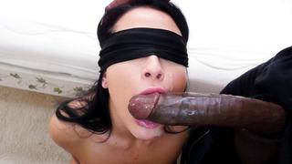 Blindfolded Katrina Jade sucking enormous black cock