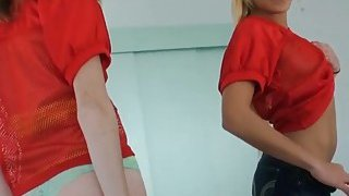 Blonde and brunette women show off ass and banged hard