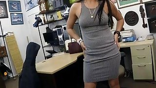 Lovely woman shows off ass and rammed at the pawnshop