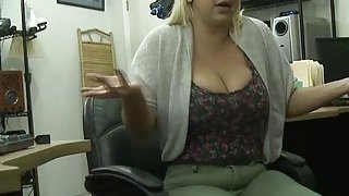 Hot babe Nina Kay who has big ass and huge tits rides cock in the pawnshop