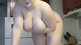 Sexy busty chubby masturbating in kitchen