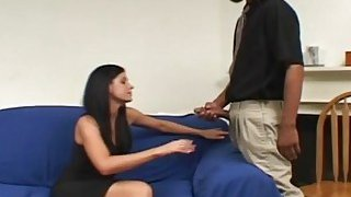 Dark haired milf banged by black schlong and sucks