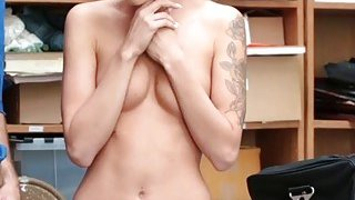 Teen babe Emma Hix has to fuck security guard dick