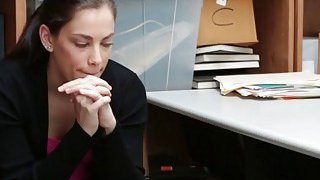 A slutty skinny brunette teen thief must suck officer's dick if want her freedom back