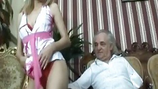 Slim blonde mistress dancing teasing striptease in front of senior cock handicap sugar daddy