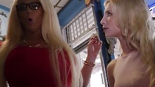 Hot milf and beautiful teen stepdaughter walk into a tattoo shop