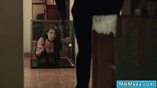 Caged busty Katrina Jade awaiting master