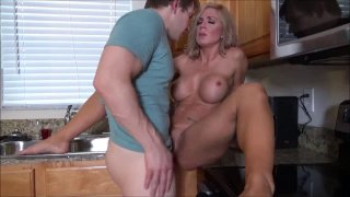 Kinky stepmom gets pussy pounded by young guy in kitchen