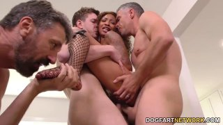 Ebony slut September Reign gets gangbanged by horny white guys