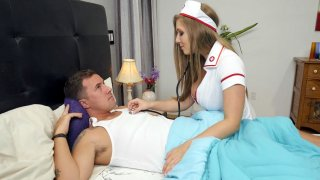 Nurse Lena Paul is sucking Jessy Jones' cock
