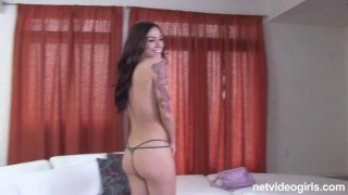 Sweet chick takes her thongs off and sucks a dick